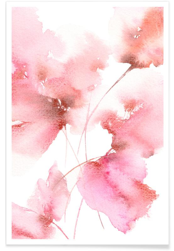 , Pink Bloom Watercolour Poster