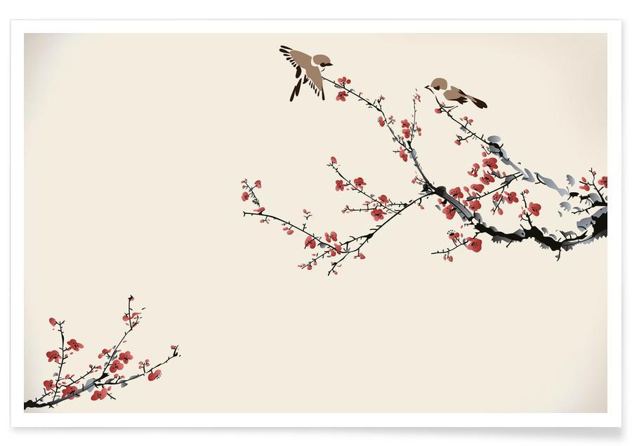 D'inspiration japonaise, Feuilles & Plantes, Jays & Sakura affiche