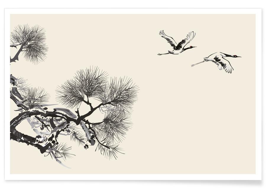 D'inspiration japonaise, Grues, Feuilles & Plantes, Japanese Cranes affiche