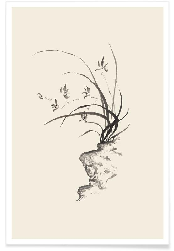 Arbres, D'inspiration japonaise, Noir & blanc, Feuilles & Plantes, Wild Irises affiche