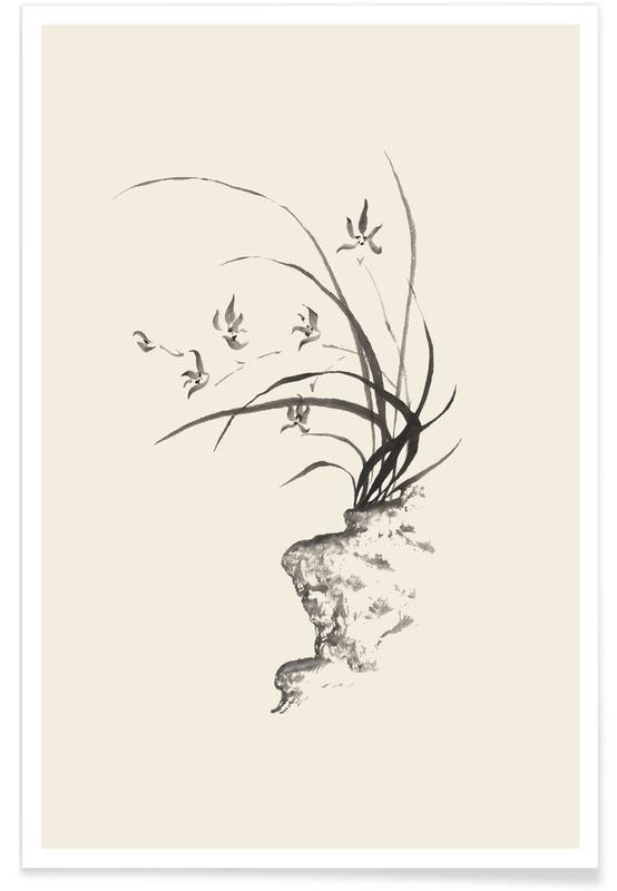 Trees, Japanese Inspired, Black & White, Leaves & Plants, Wild Irises Poster
