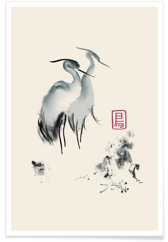 Kraniche, Schwarz & Weiß, Japanisch inspiriert, Cranes Of Mist -Poster