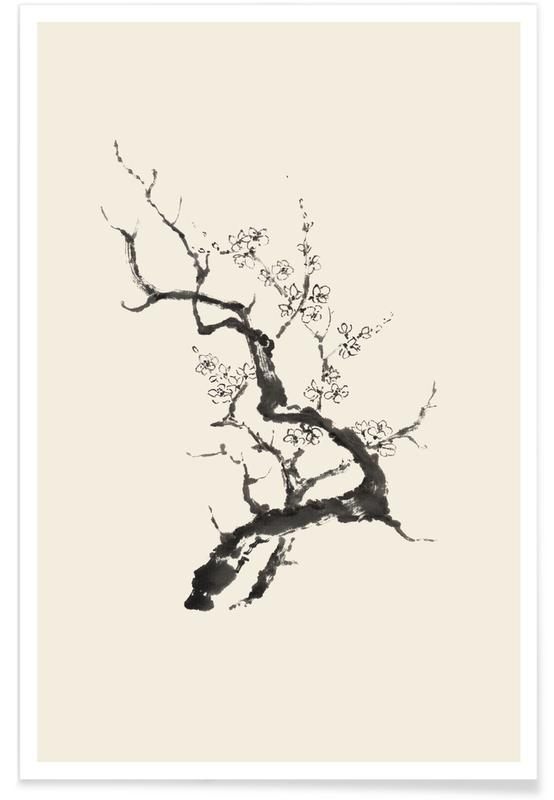 Trees, Japanese Inspired, Black & White, Sakura Poster