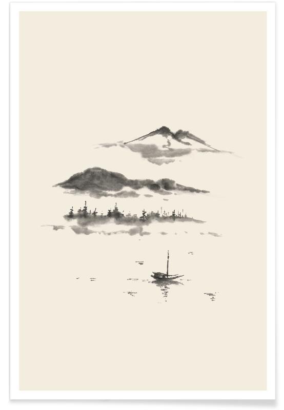 Paysages abstraits, Montagnes, D'inspiration japonaise, Noir & blanc, Japanese Dreamscape affiche