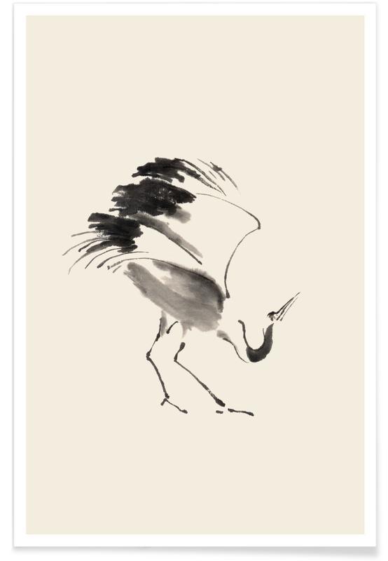 Kraniche, Schwarz & Weiß, Japanisch inspiriert, Bowing Crane -Poster