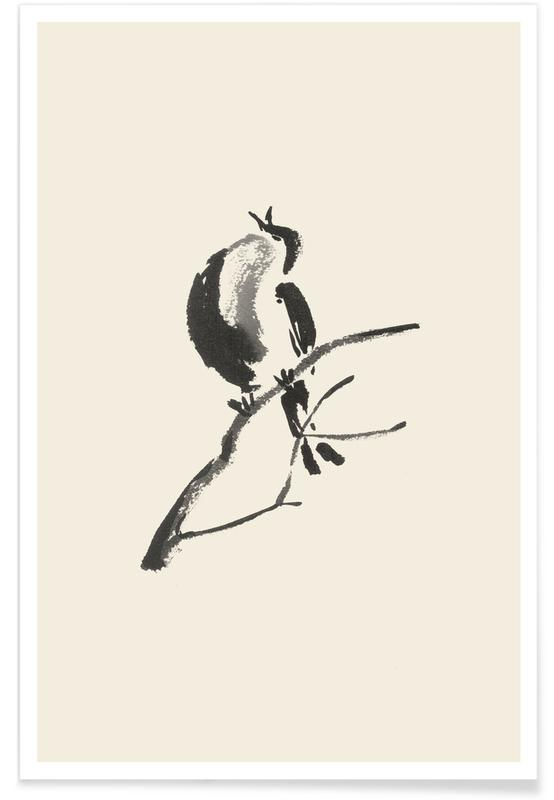 Japanese Inspired, Black & White, First Call of Spring Poster
