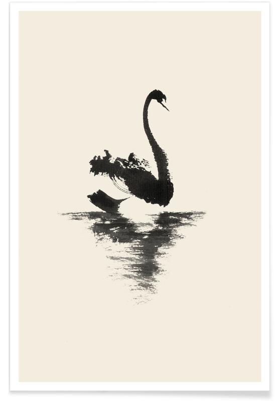 Zwart en wit, Japans geïnspireerd, Zwanen, Black Swan poster