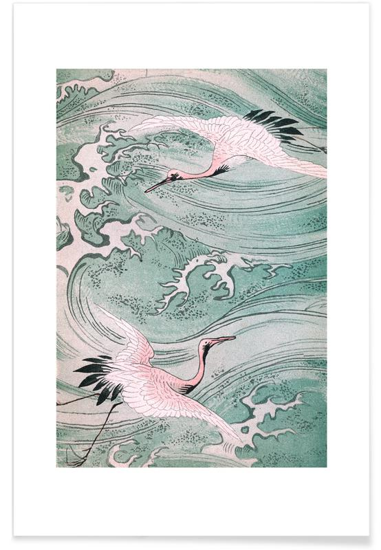 Japanese Inspired, Cranes, Cranes & Waves Poster