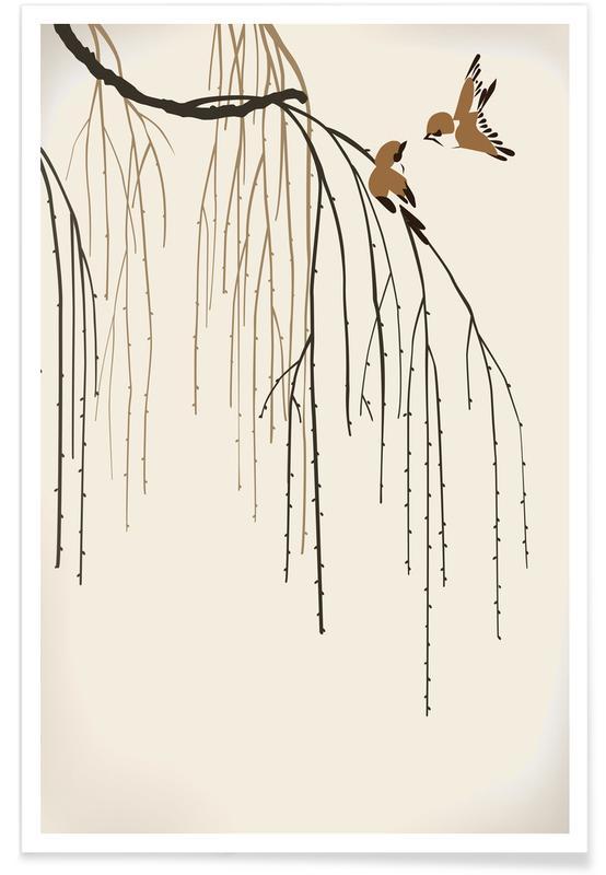Blätter & Pflanzen, Japanisch inspiriert, Bäume, Two Little Birds -Poster