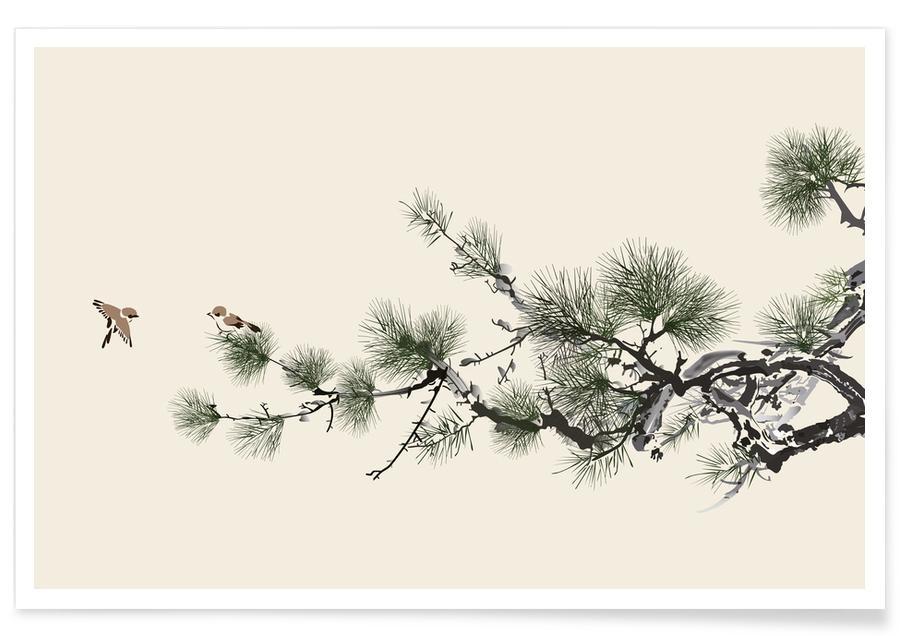Bladeren en planten, Japans geïnspireerd, Bomen, Birds and Pine poster