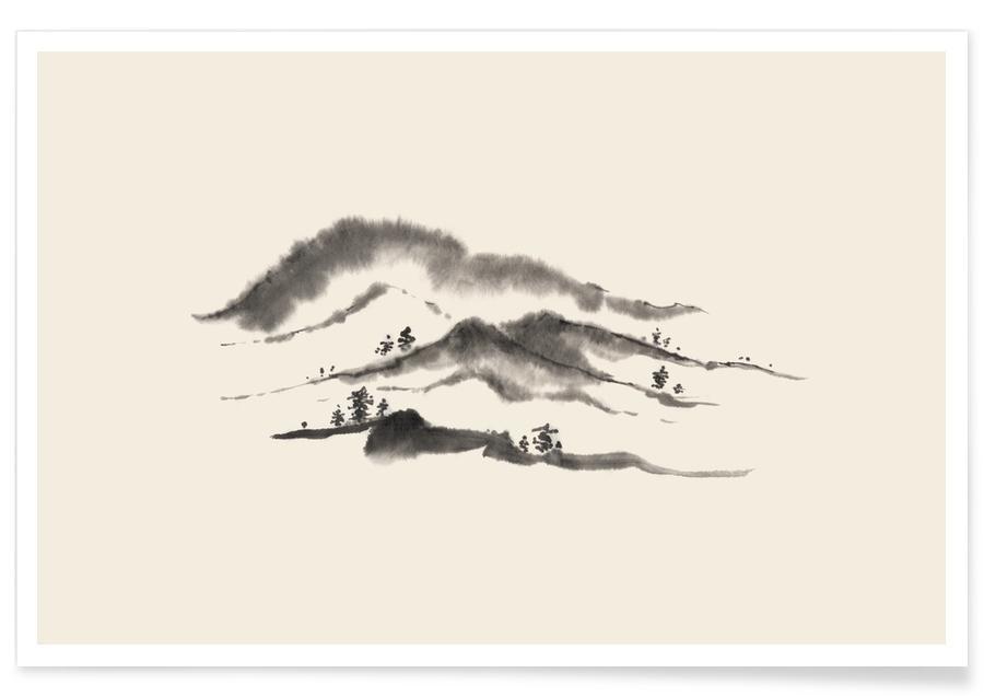 Paysages abstraits, Montagnes, D'inspiration japonaise, Noir & blanc, Distant Hills affiche