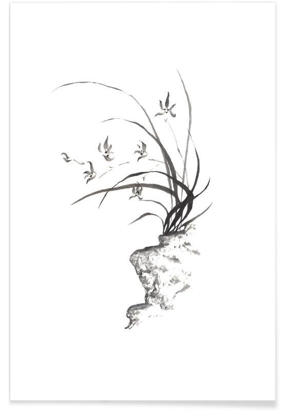 D'inspiration japonaise, Noir & blanc, Feuilles & Plantes, Wild Irises II affiche