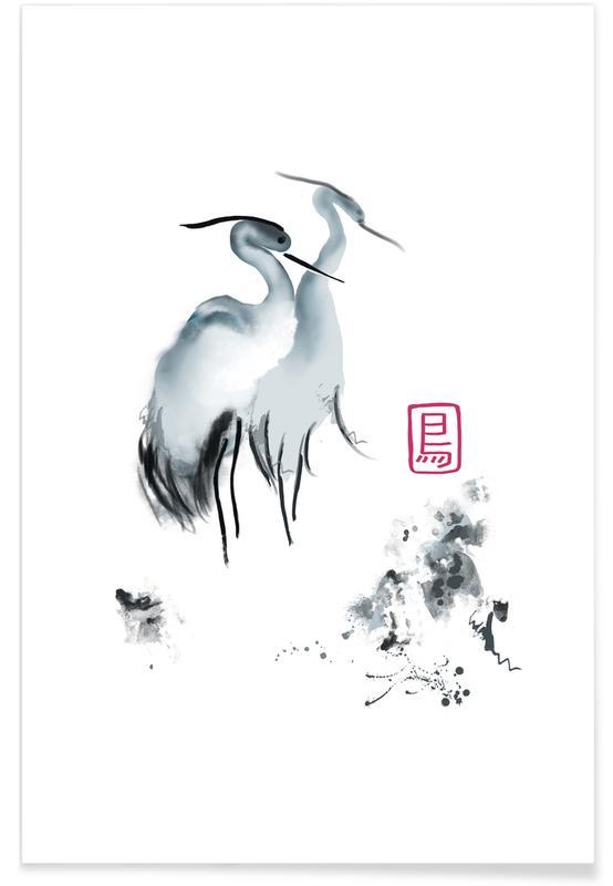 Kraniche, Japanisch inspiriert, Cranes Of Mist II -Poster
