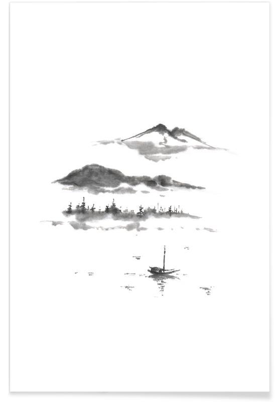 Paysages abstraits, Montagnes, D'inspiration japonaise, Noir & blanc, Japanese Dreamscape II affiche