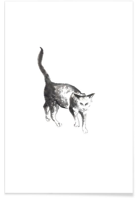 D'inspiration japonaise, Noir & blanc, Chats, Salem II affiche