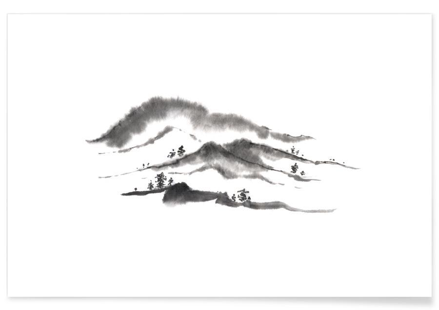 Montagnes, D'inspiration japonaise, Noir & blanc, Distant Hills II affiche