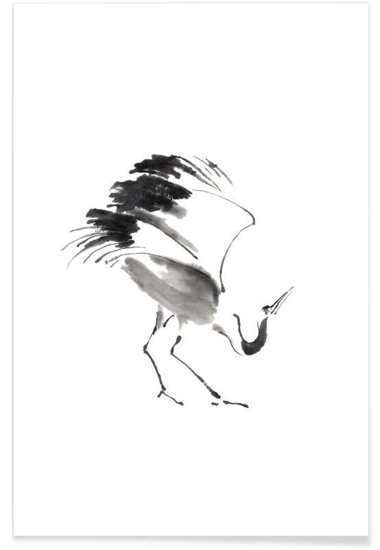 Kraniche, Schwarz & Weiß, Japanisch inspiriert, Bowing Crane II -Poster