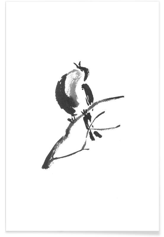 Schwarz & Weiß, Japanisch inspiriert, First Call of Spring II -Poster