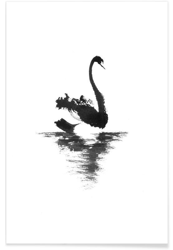 Swans, Japanese Inspired, Black & White, Black Swan II Poster