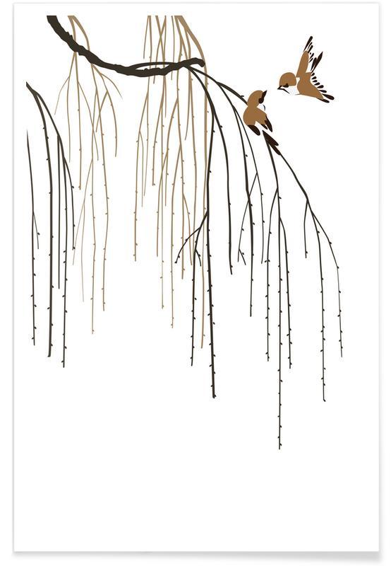 Bladeren en planten, Japans geïnspireerd, Bomen, Two Little Birds II poster