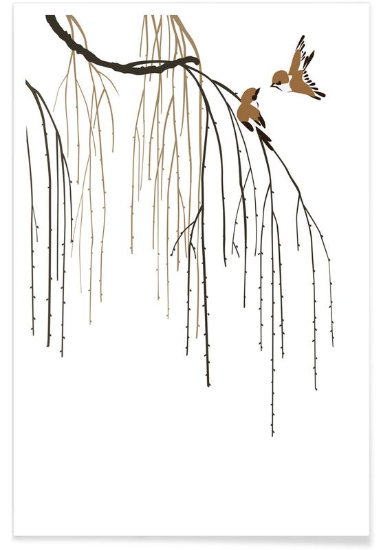 Leaves & Plants, Japanese Inspired, Two Little Birds II Poster