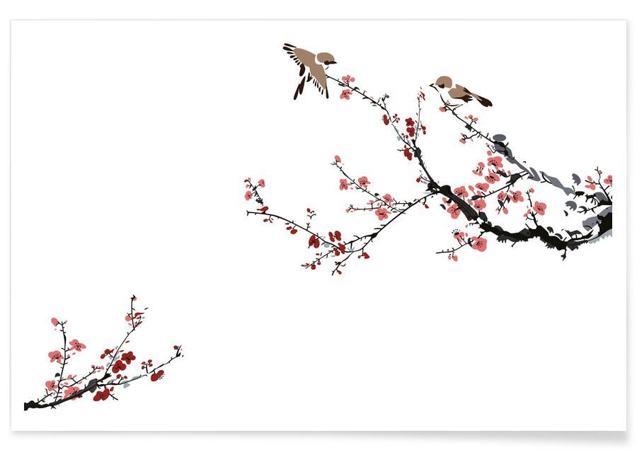 Blätter & Pflanzen, Japanisch inspiriert, Jays & Sakura II -Poster
