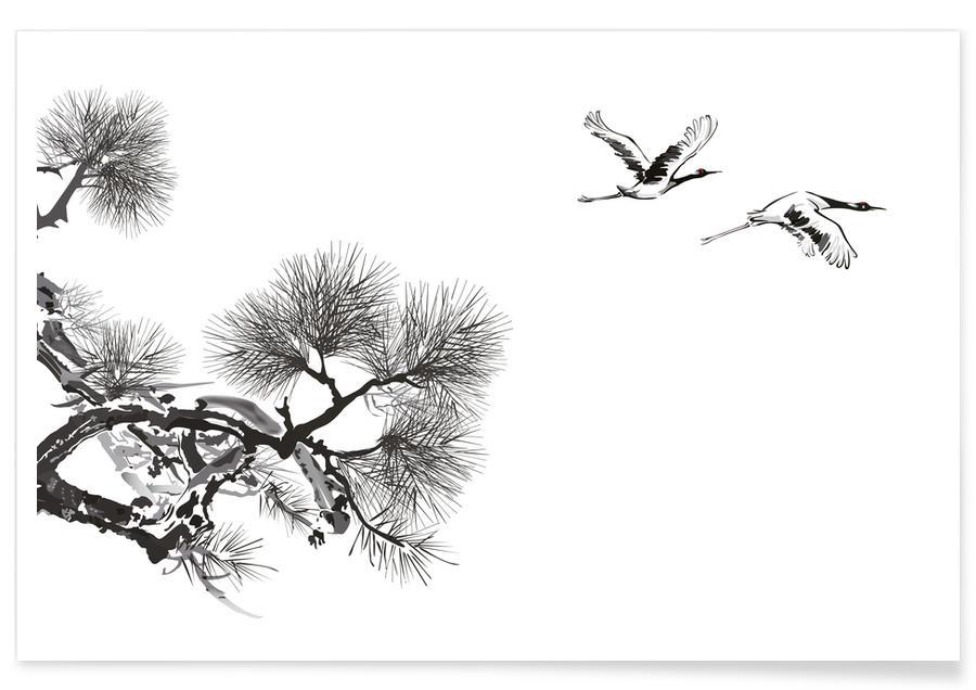 Kraniche, Schwarz & Weiß, Blätter & Pflanzen, Japanisch inspiriert, Bäume, Japanese Cranes II -Poster