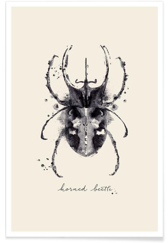 , Ink Horned Beetle Poster