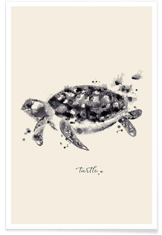 Noir & blanc, Tortues, Ink Turtle affiche