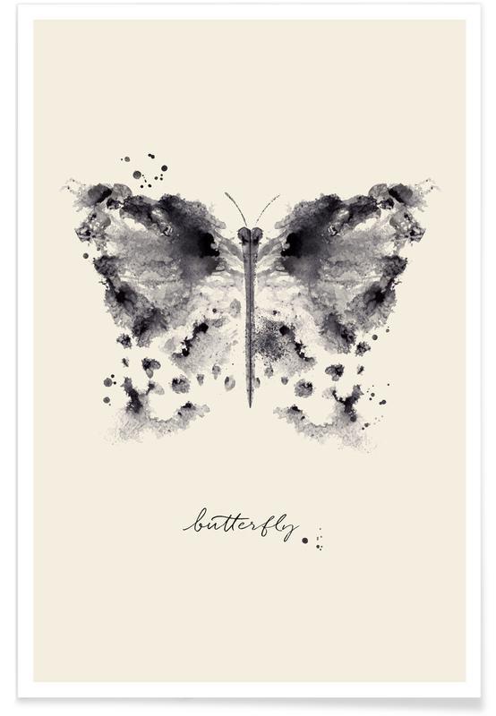 Noir & blanc, Papillons, Ink Butterfly affiche