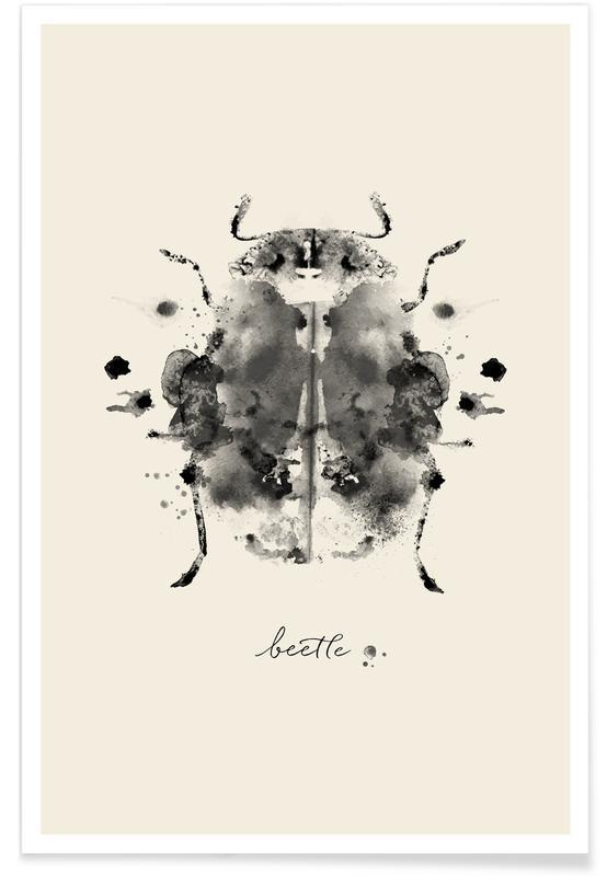 Käfer, Schwarz & Weiß, Ink Beetle Black & White -Poster