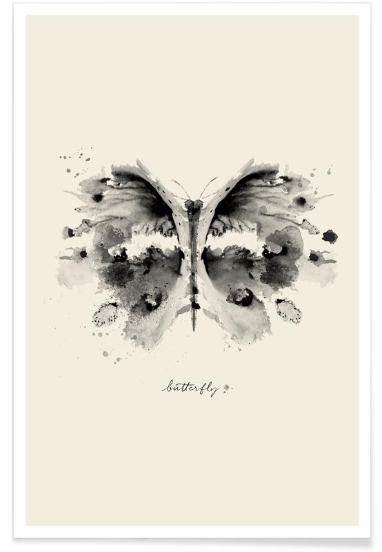 Noir & blanc, Papillons, Ink Butterfly Black & White affiche