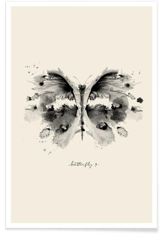 Zwart en wit, Vlinders, Ink Butterfly Black & White poster