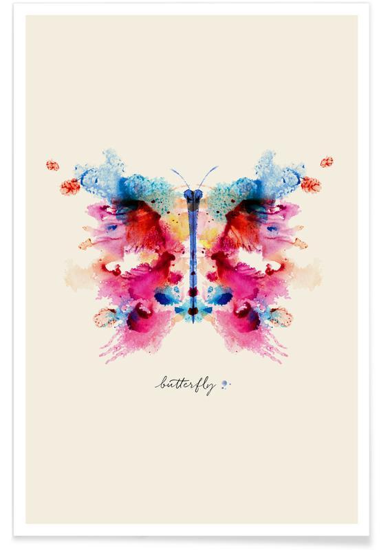 Butterflies, Ink Butterfly Iridescent Poster