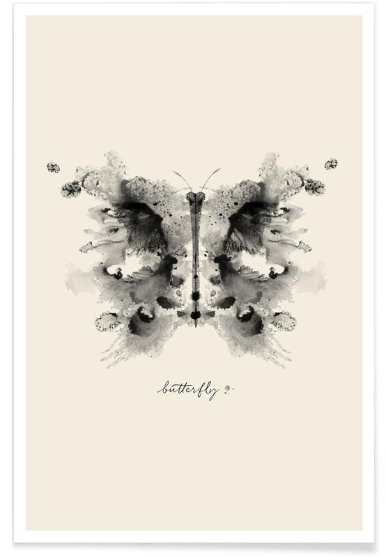 Papillons, Ink Butterfly Greyscale affiche
