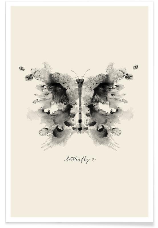 Zwart en wit, Vlinders, Ink Butterfly Greyscale poster