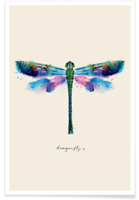 Libellen, Ink Dragonfly Iridescent poster