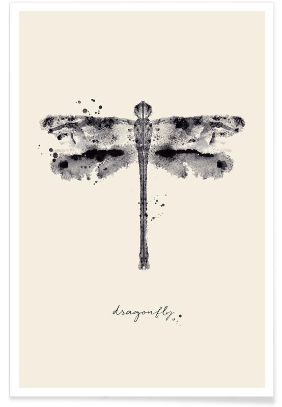 Noir & blanc, Libellules, Ink Dragonfly Black & White affiche