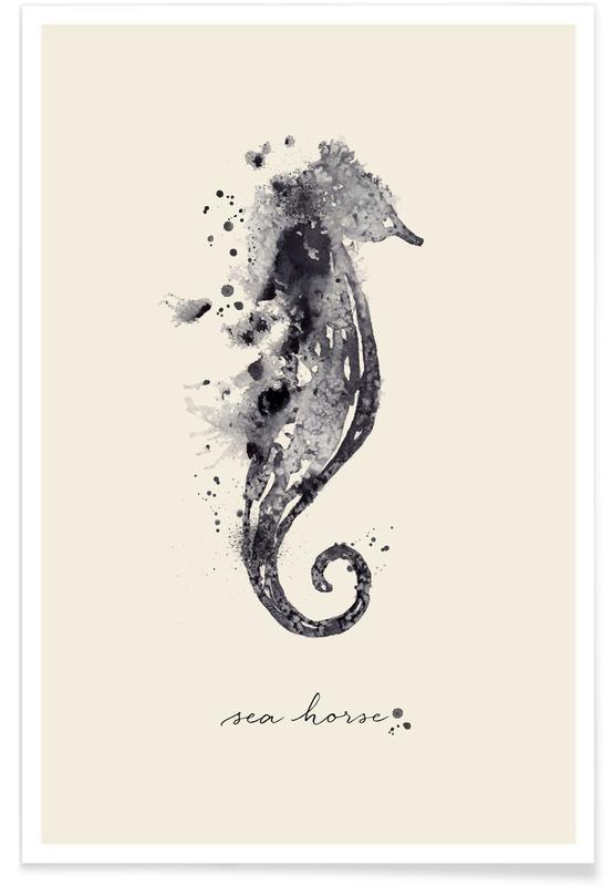 Søheste, Ink Sea Horse Black & White Plakat