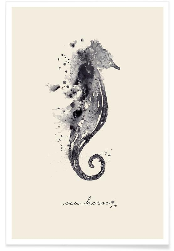 Schwarz & Weiß, Seepferdchen, Ink Sea Horse Black & White -Poster