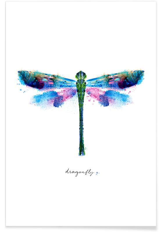 Dragonflies, Ink Dragonfly Iridescent II Poster