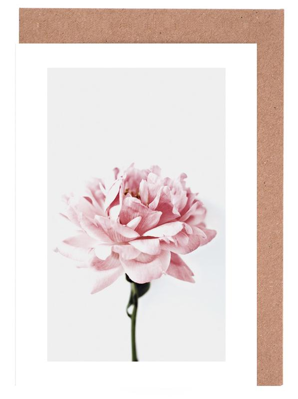 Peony Pink and Grey cartes de vœux