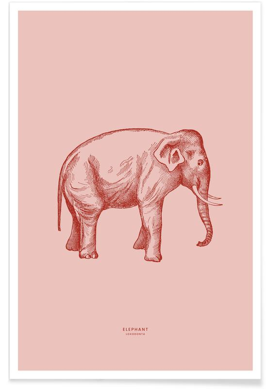 Elefanter, Elephant Pink Plakat