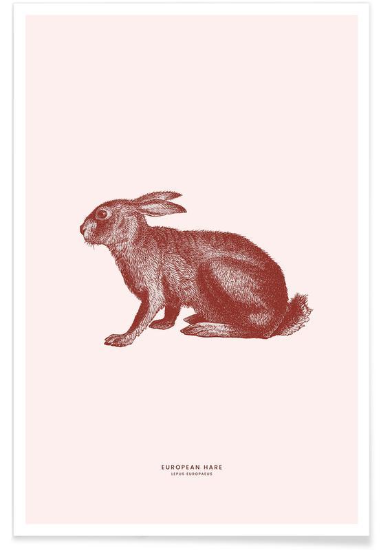 Lapins, Art pour enfants, Pâques, European Hare II affiche