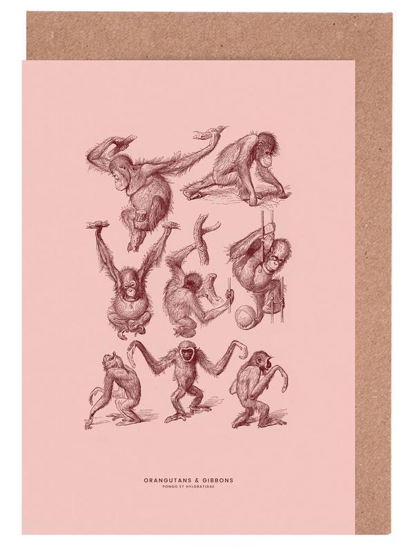 Orangutans and Gibbons II -Grußkarten-Set