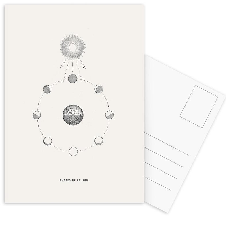Retro, Phases de la Lune Postcard Set