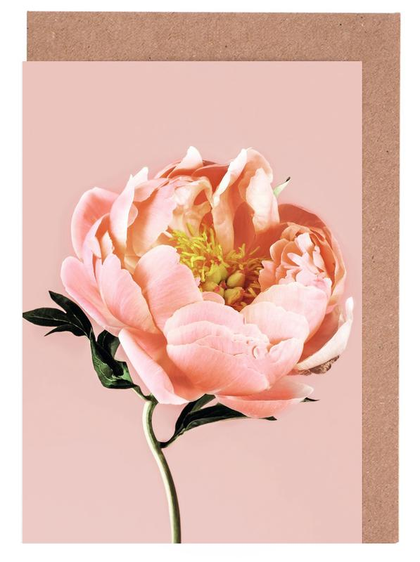 Coral Peony Greeting Card Set