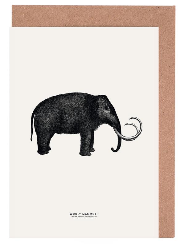 Elefanten, Kinderzimmer & Kunst für Kinder, Mammoth -Grußkarten-Set