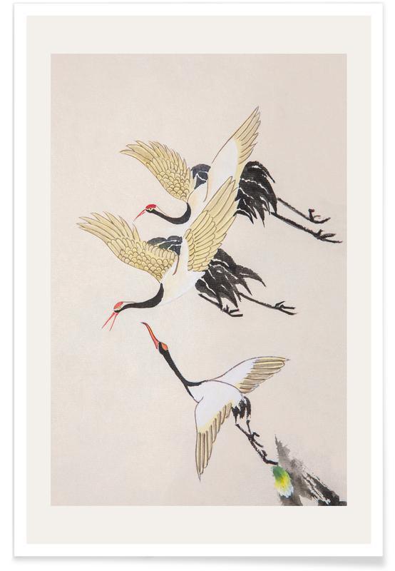 Japansk vintage, Traner, Svævende kraner Plakat