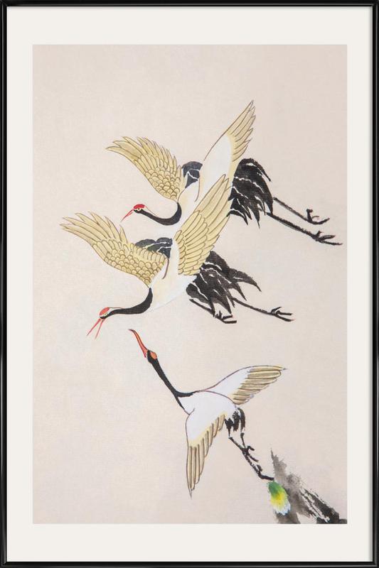 Swooping Cranes ingelijste poster